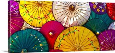 Colorful hand painted paper umbrellas in Inle Lake, Burma