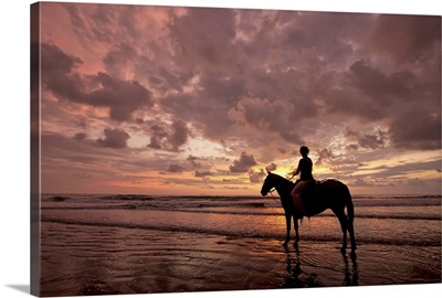Colorful sunset on the beach with horse and rider