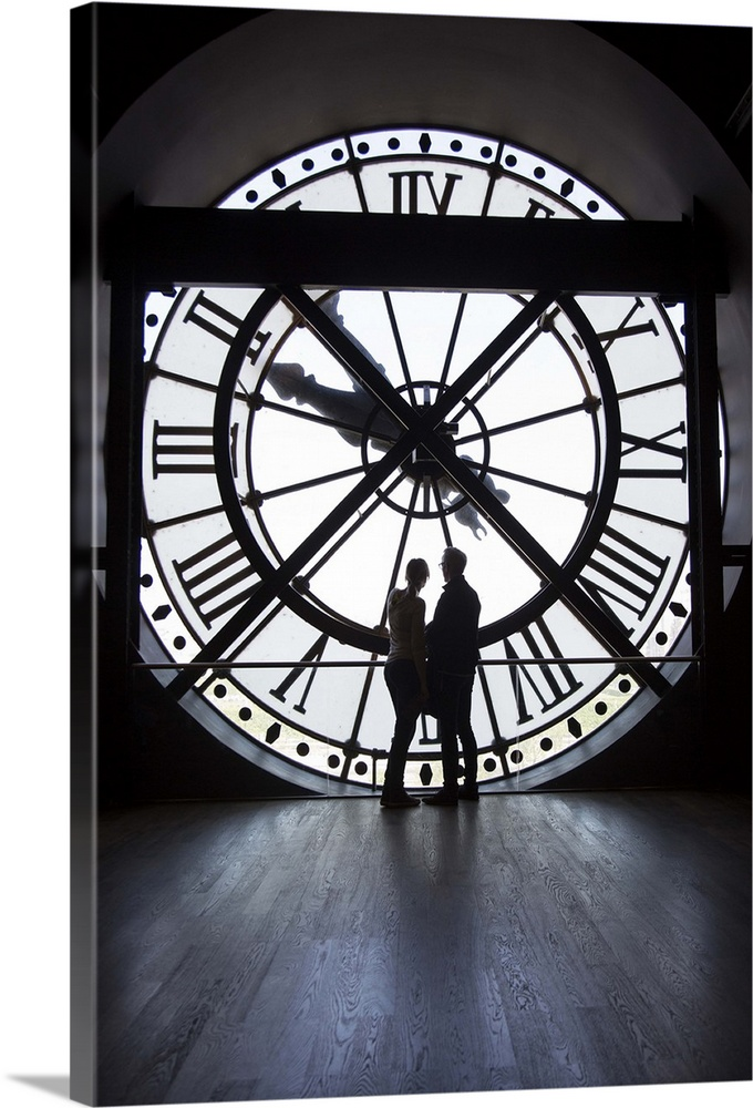 Couple By The Clock Inside The Musee Du0027Orsay In Paris
