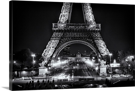 Eiffel Tower at night, black and white Wall Art, Canvas ...