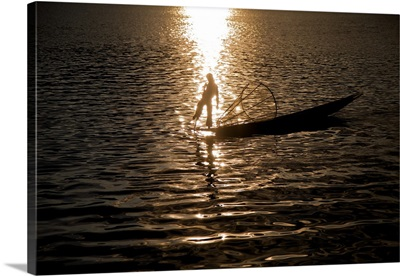 Fisherman at sunrise Inle Lake, Burma