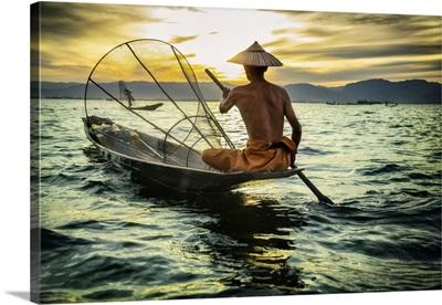 Fisherman At Sunset In Inle Lake, Burma