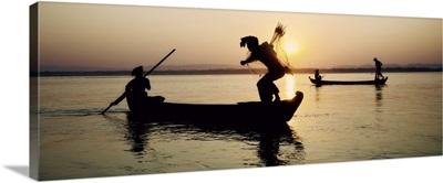 Fisherman with nets in Mandalay, Burma