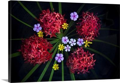 flower arrangement in water in Mandalay, Burma