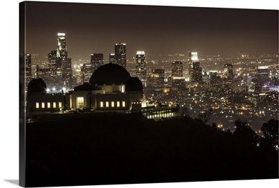 Griffith Park Observatory and downtown LA at night