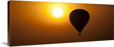 Hot air balloon at sunrise over the temples in Bagan, Burma