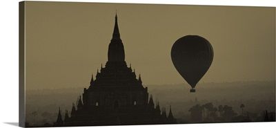 Hot air balloon over Bagan, Burma at sunrise