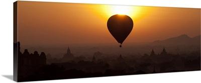 Hot air balloon over the temples of Bagan, Burma