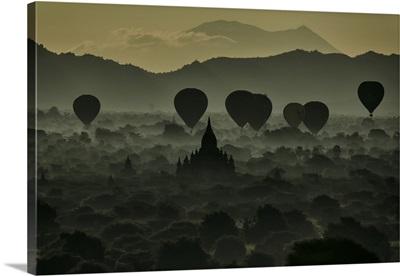 Hot air balloons over Bagan Myanmar, burma, myanmar