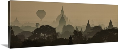 Hot air balloons over the temples of Bagan, Myanmar; sunrise