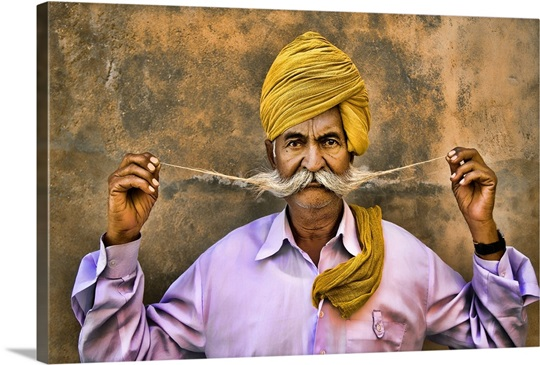 India Turban with great mustache Wall Art, Canvas Prints, Framed ...