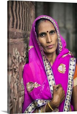 Indian woman at the Taj Mahal in Agra, India