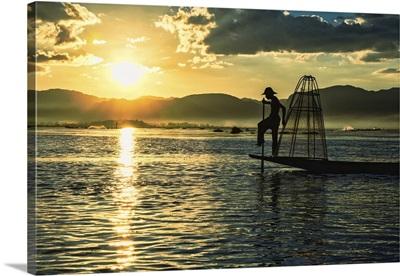 Inle Lake fisherman at sunrise in Burma