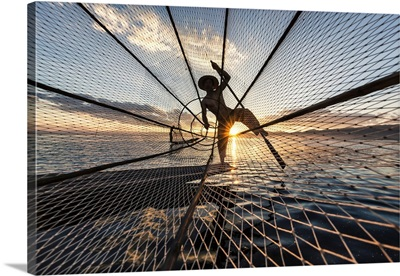 Inle Lake fisherman at sunrise in Myanmar