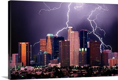 Lightning above Los Angeles, California