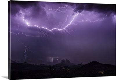 Lightning storm over Cathedral Rocks in Sedona, Arizona
