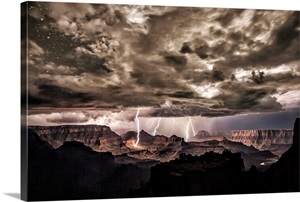 Lightning Strikes Over The Grand Canyon Wall Art Canvas