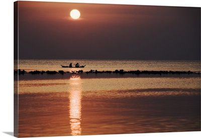 Long Tail Boats at Sunset, off the coast of Koh Samui, Thailand