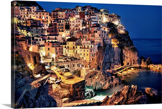 Manerola after dark, Cinque Terre, Italy