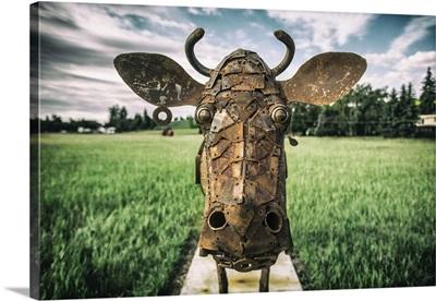 Metal cow sculpture in the Palouse, Washington