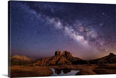 Milky Way and moonlight over Cathedral Rocks in Sedona, Arizona