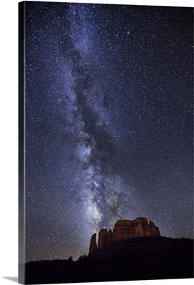 Milky Way over Cathedral Rocks in Sedona, Arizona