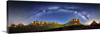 Milky Way Panorama at moonset in Sedona, Arizona