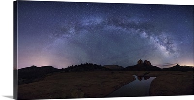 Milky Way panorama over Cathedral Rocks in Sedona