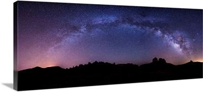 Milky Way panorama over Cathedral Rocks in Sedona, Arizona