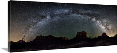 Milky Way panorama over the red rocks of Sedona, Arizona