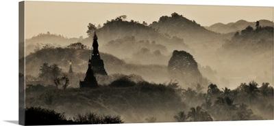 Misty sunrise in the hills of Mrauk, Myanmar