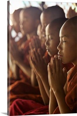 Monk boys in prayer in their monastery