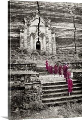 Monk boys walking up to Mingun Temple in Mandalay, Burma