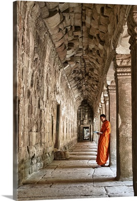Monk reading in Angkor Wat, Cambodia