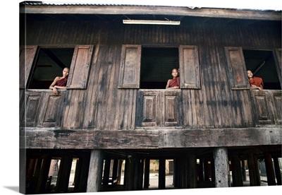 Monks in their Monastery, Mandalay, Burma