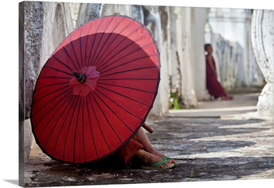 Monks resting in monastery, Mingun, Burma