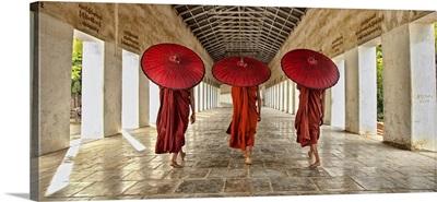 Monks walking to their monastery in Bagan, Burma