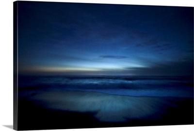 Moody blue ocean at dusk, Big Sur, California
