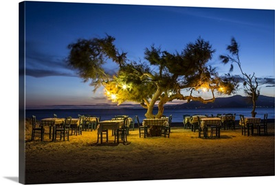 Outdoor cafe on the beach in Naxos, Greece