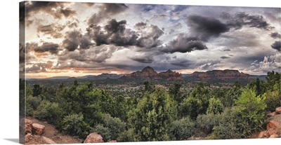 Panorama of clouds and red rocks in Sedona, Arizona