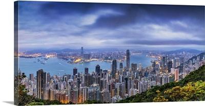 Panorama Of Hong Kong Harbor From Above
