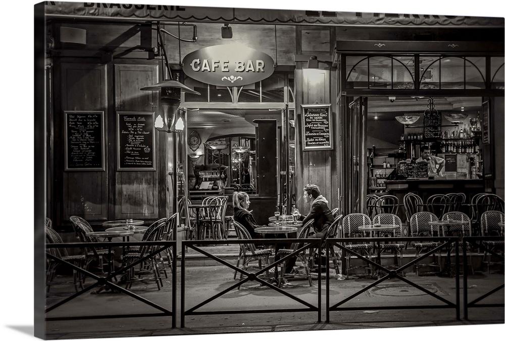 Premium Thick-Wrap Canvas Wall Art entitled Paris cafe at ...
