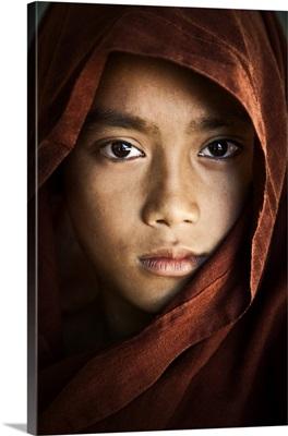 Portrait of a young monk, Mandalay, Burma