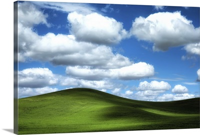 Powerful clouds and green wheat fields in the Palouse region of Washington