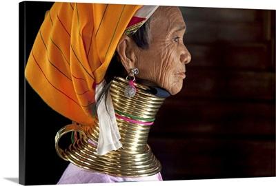 Profile of a Padaung ring neck woman in Inle Lake, Burma