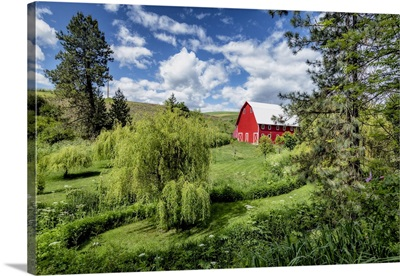 Red Barn And Gardens In The Palouse Region Of Washington