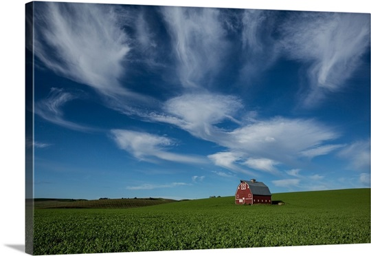 Red barn in wheat fields of the Palouse
