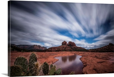 Reflection of Cathedral Rocks in water in Sedona, Arizona