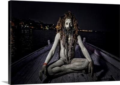 Religious Sadhu On The Ganges  In Varinasi, India