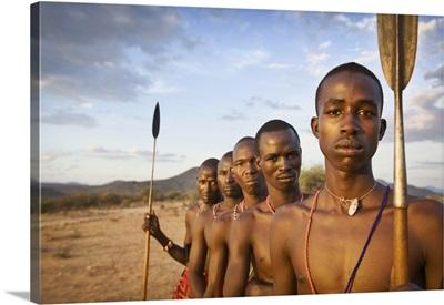 Samburu tribe at sunset, Kenya, Africa